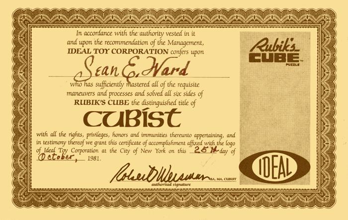Rubik's Cubist Certificate 1981, Sean Ward