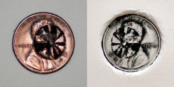 One of Margaret Craig's Pennies from Penny Drop – 125 Pennies Etched and Scattered