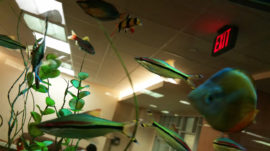 Fish tank with exit sign - MD Anderson